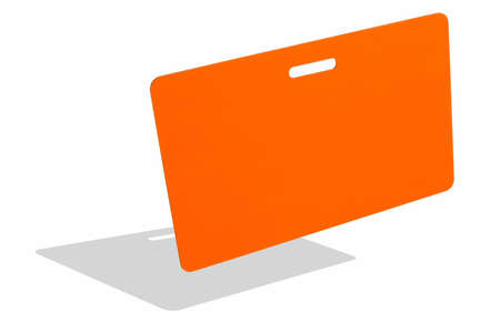 Orange badge isolated against white surface Stock Photo - 632257