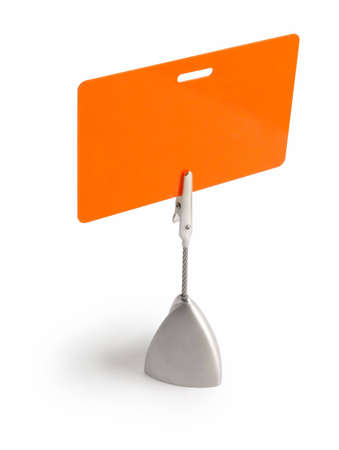 Orange card isolated against white background with the stand Stock Photo - 632255