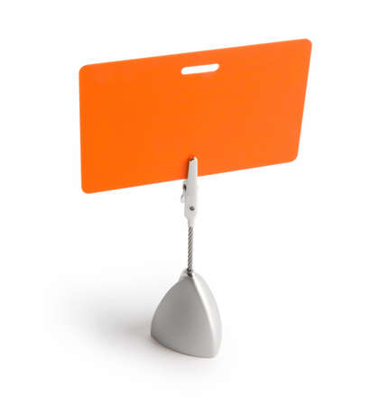 Orange card isolated against white background with the stand photo