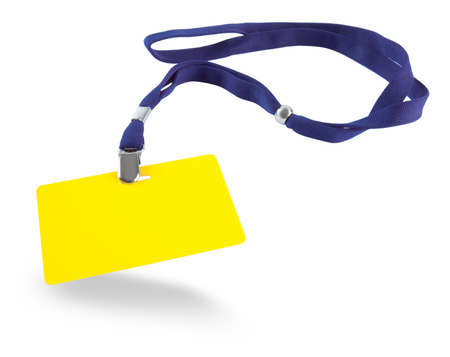 Yellow ID card and blue lanyard isolated against white background Stock Photo