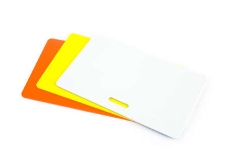 Differint colored ID cards isolated against white background