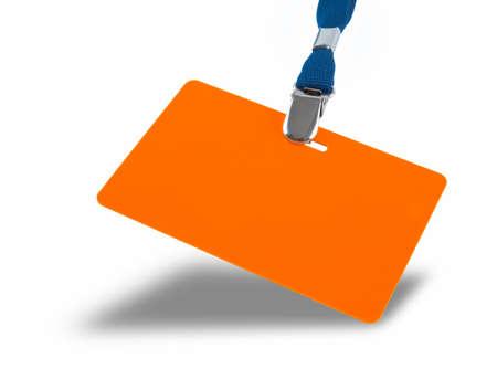 lanyard: Orange badge and blue lanyard isolated against white background