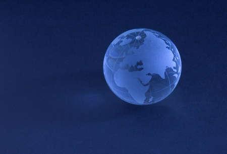 Glass globe in blue light