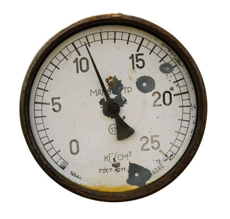 Rusty manometer isolated over white