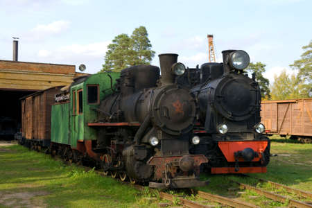 Old steam trains in depo Stock Photo