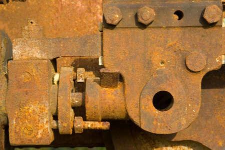 Old steam train wheels Stock Photo