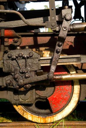 Old steam train wheels close up