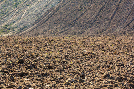 Freshly plowed field ready for planting and seeding in spring Stok Fotoğraf