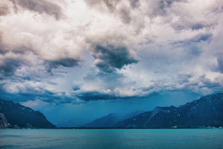 Dramatic sky above Leman Lake Geneva Imagens