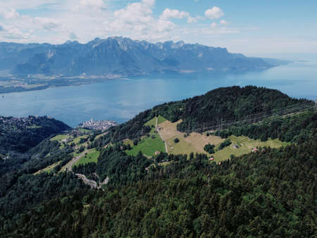 Drone photo of lake Geneva near Montreux