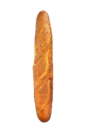 crusty french bread: French baguette isolated on white background