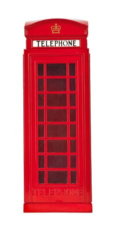 British phone booth isolated on white background photo