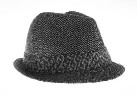 brim: Isolated gray felt hat Stock Photo