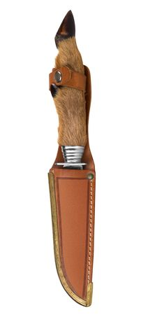 Deer leg hunter knife isolated on white background photo