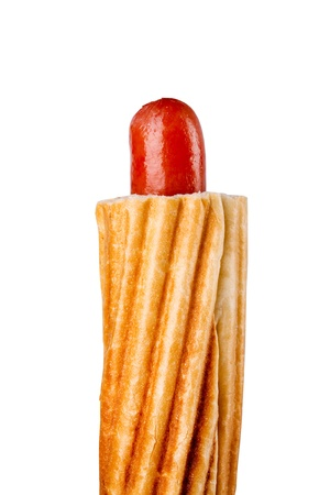 French Hot Dog isolated on white photo