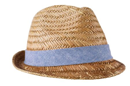 Mens straw hat isolated on white photo