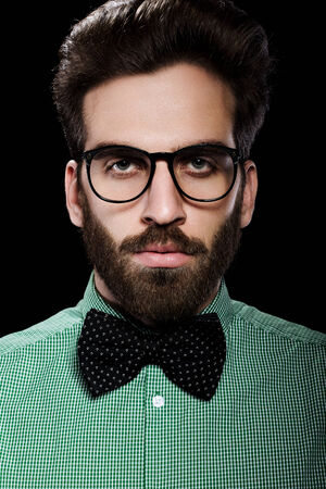 cute guy: Handsome male in glasses and bow tie