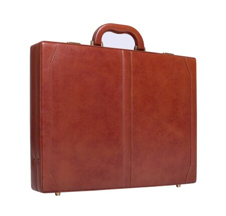 Leather briefcase isolated on white background photo