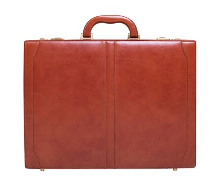 Brown leather briefcase isolated on white background photo