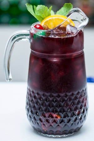 Refreshing punch with fruits photo
