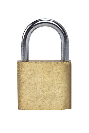 Metal padlock on white background photo