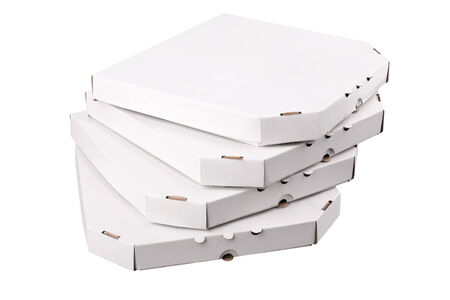 White pizza boxes template on white background photo