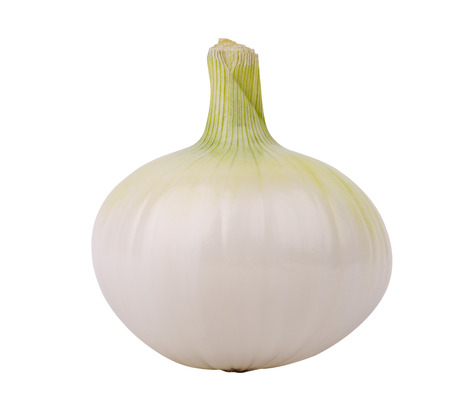 pealing: One onion, isolated against white background
