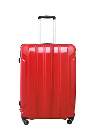 Red travel bag isolated on white background. photo