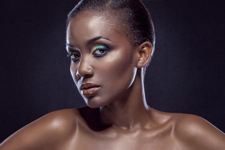 black hair blue eyes: Beauty portrait of handsome ethnic african girl. Always more on my portfolio