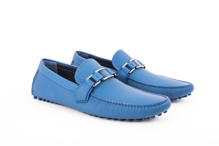 moccasins: Blue male leather loafers pair isolated on white background Stock Photo