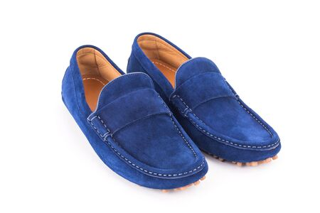 loafers: Blue mens suede leather loafers pair isolated on white background