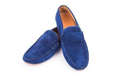 loafers: Blue male suede leather loafers pair isolated on white background