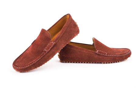 loafers: Brown mens suede leather loafers pair isolated on white background