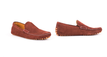 loafers: Brown male leather loafers pair isolated on white background Stock Photo