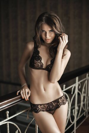 nude female body model: Beautiful brunette model in expensive lace lingerie. Touching hair with her hand