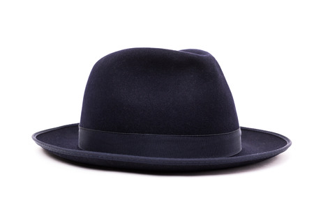 fedora: A classic low crown fedora hat in a dark blue color. Isolated on white background.