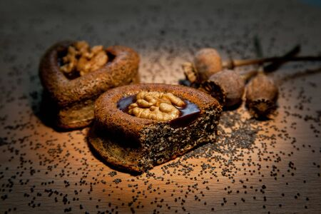 Cakes with poppy seeds and walnuts Stock Photo