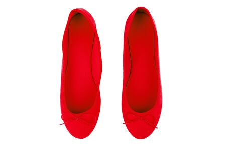 Womens red suede shoes, isolated on white background Stock Photo