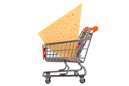 Cheese chunk in shopping cart