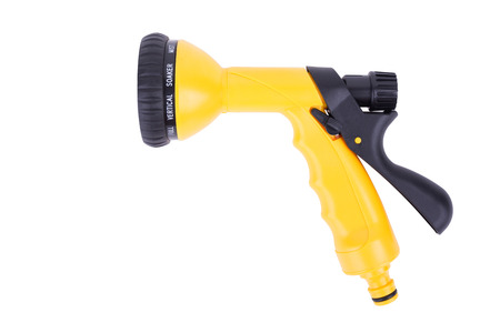 New yellow Sprayer with adjustable water jet. Convenient sprayer for plants watering, isolated on white background