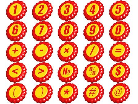 signos matematicos: Conjunto de n�meros del 0 al 9 y los signos matem�ticos en un tipo de figuras en 3D sobre un fondo blanco.