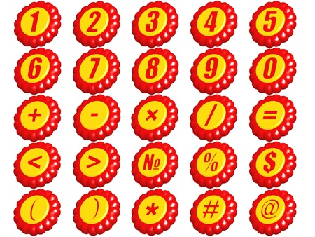 Set of numbers from 0 to 9 and mathematical signs in a kind 3D figures on a white background. Stock Photo