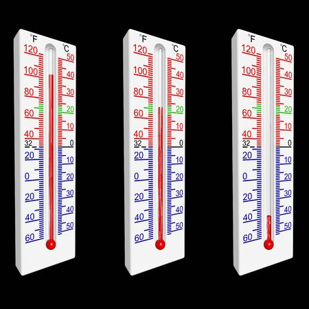 Set of three thermometers, with the part of a scale of green colour defining a range of temperatures, comfortable for a human body.