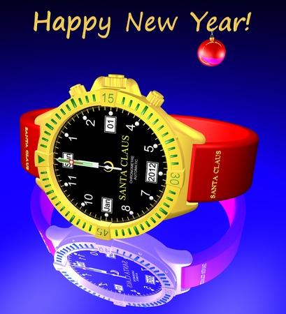 On Santa Claus clock - midnight, begins 2012. Happy New Year! Stock Photo - 10807239