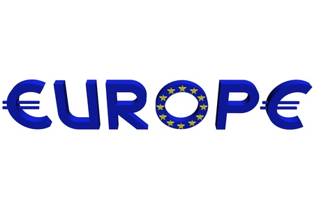 Word Europe&quot, with letters  in the form of a symbol of the European currency and the letter  with twelve stars on a surface.