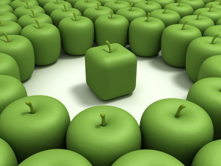 originality: Green apple of the cubic form in an environment of usual green apples.