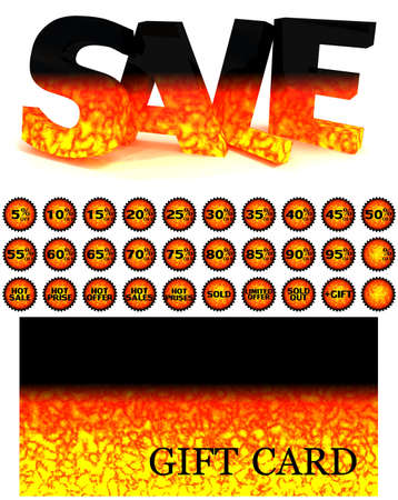 Set from a volume word SALE, a gift card and labels stylised under the heated lava for your successful sales.