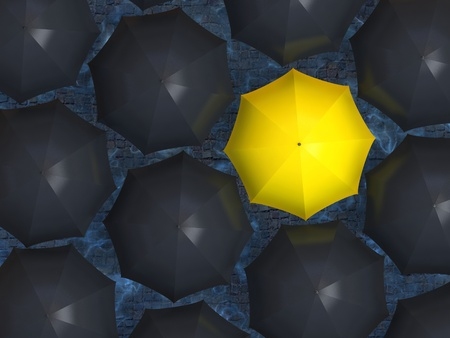 allocated: Bright yellow umbrella among set of black umbrellas  Stock Photo