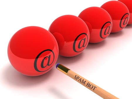 addressee: Conceptual image of the spam-program dispatching a spam in the form of a billiard cue and spheres