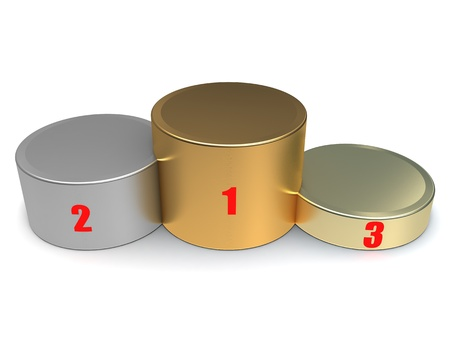 Winners podium - gold, silver, bronze, close up on a white background Stock Photo - 14608296